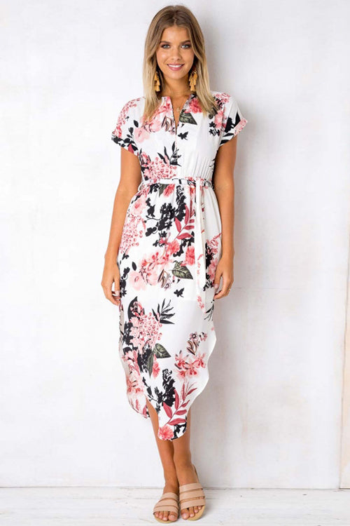 Floral Print Tie Waist Irregular Midi Dress