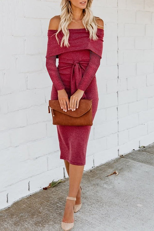 Always Stunning Off Shoulder Tie Midi Dress