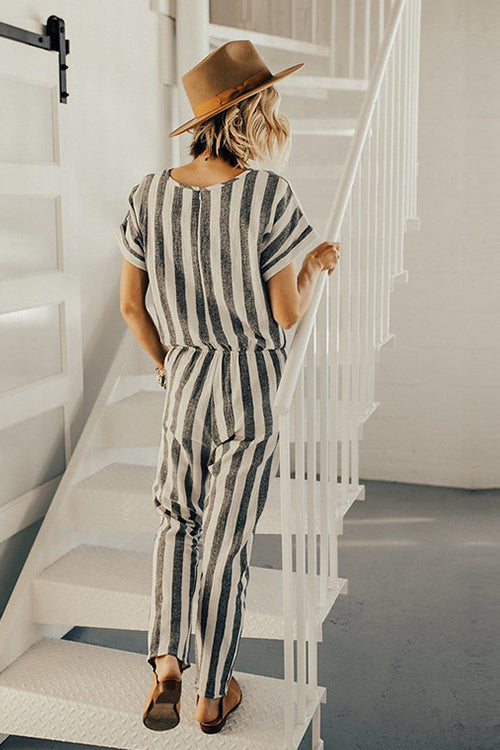 White&Grey Short Sleeve Slim Jumpsuit