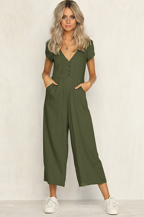 V-neck Short Sleeve Casual Jumpsuit