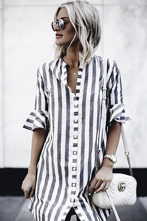 Grey Stripe Half Sleeve Shirt Dress