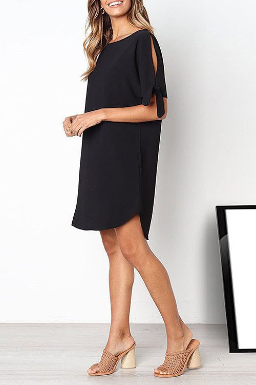 Sleeve-slit Bowknot Mini Dress