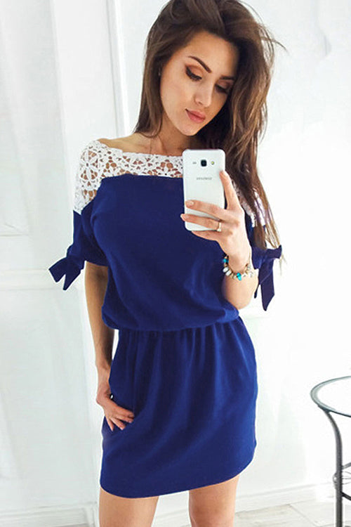 Hollow-out Pocket Mini Dress