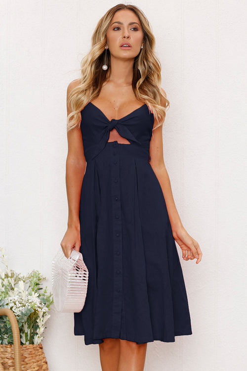 Bowknot Backless Midi Dress