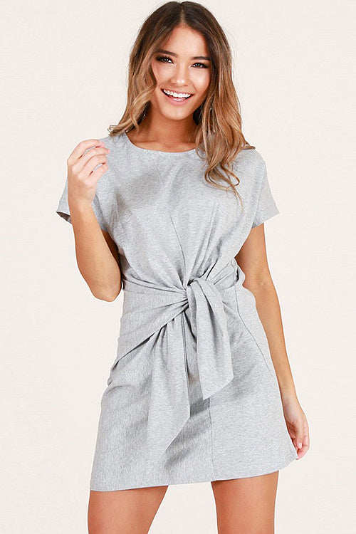 Short Sleeve Cross-front Mini Dress