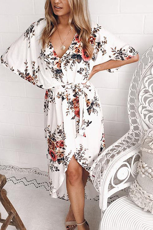 Sweet Causal Print Tie-waist Midi Dress