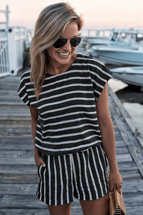 Stripe Back-slit Romper