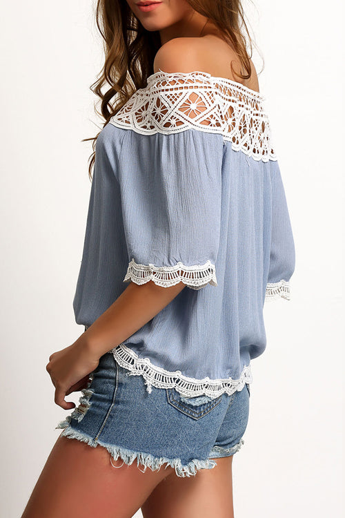 Lace Up Off the Shoulder Chiffon Blouse