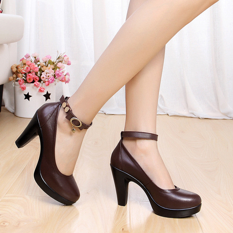 Women's high heel shoes.   Female black pumps /genuine leather strap work shoes