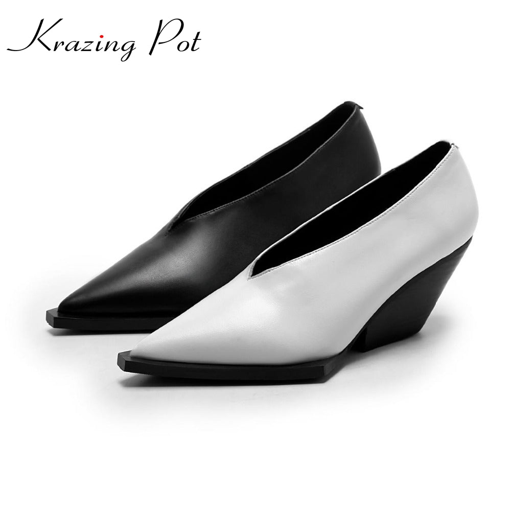 Woman's High fashion pumps wedges. Solid color square toe.  Runway model style. Unique Style