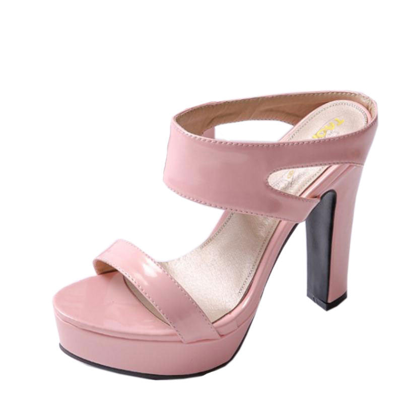 New summer Peep toe Ankle strap orange Sweet Thick high heel Sandals Platform Lady women shoes