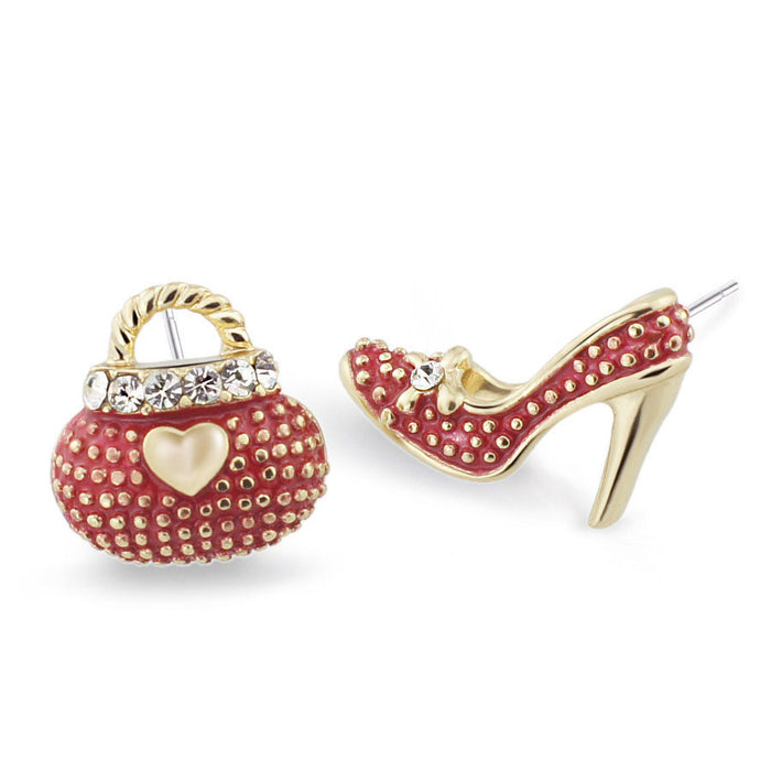 Asymmetric High Heel Shoe Bag Stud Earrings for Women Crystal Rhinestone Lady Girls Earrings 3 Colors