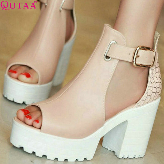 Fashion Ladies Summer Shoes Square High Heel PU leather Peep Toe Sizes 4 - 12