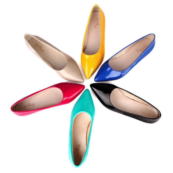 Brand New Hot Sale Blue Red Yellow Black Green Glossy Patent Leather Women Nude Flats ladies Shoes AV123 Plus Big Size 49 10 13