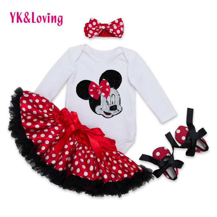 Cotton Fashion Baby Girl Clothes Sets white Long Sleeve Romper Dot Tutu Skirts with Bow Headband Shoes Infant Clothing 0-2 years