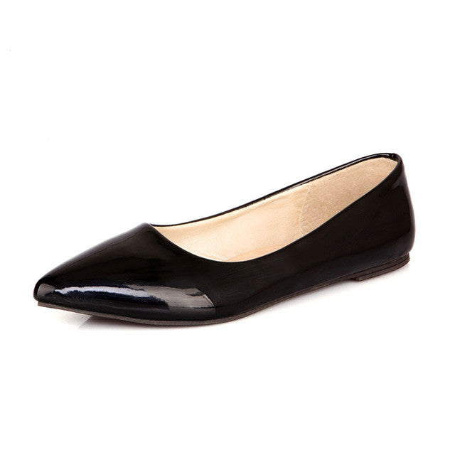 Patent Leather Women Nude Flats