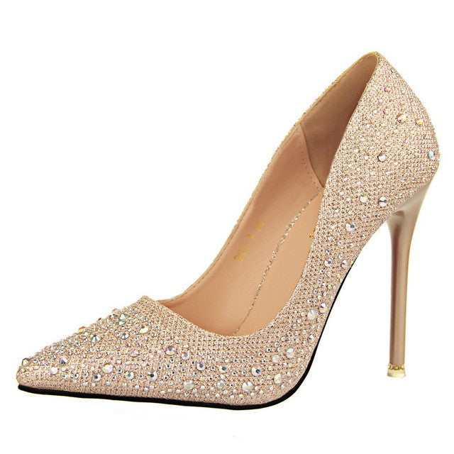 High Fashion Sexy Women Silver Rhinestone Wedding Shoes/ Pumps.  High Heels Crystal Studded Shoes Gold Black Pink Blue Silver Grey