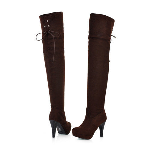 Women Boots.  Long Autumn, Winter Thigh High Boots /Lace Up Over The Knee Boots, Ladies Platform High Heels Big Size 43
