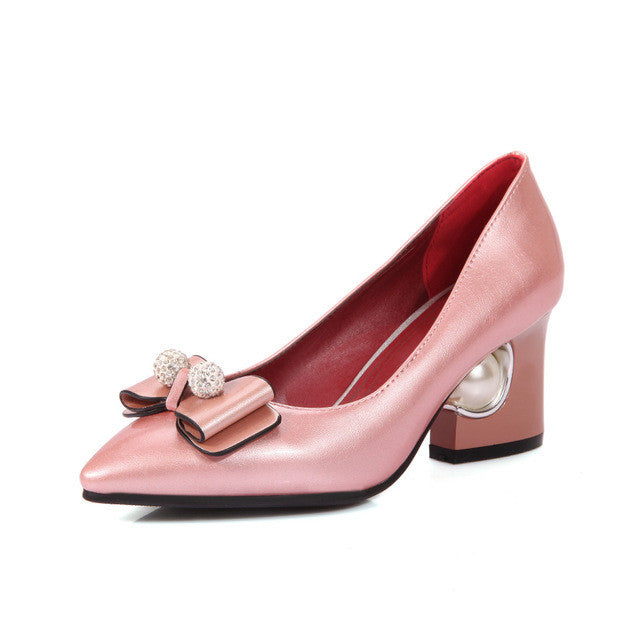 Throw Back Fashion Glossy Women Pumps Beige Red Pink and Black.  Ladies Wedding Shoes with Pearl in  Plus Sizes.