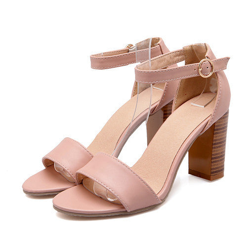 Fashion Shoes.  Women Sandals /Summer /Open Toe/ Ankle Strap/ Chunky High Heels/ White Pink Ladies Shoes