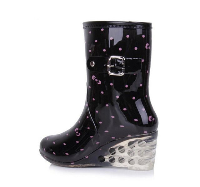 Women Rubber Boots,  Transparent Wedges