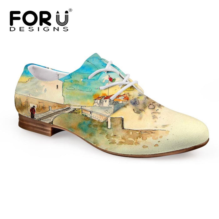 FORUDESIGNS 2017 Spring Women's Oxfords Shoes 3D Painting Lace-up Casual Leather Shoe for Women Lady Student Flats Zapatos Mujer