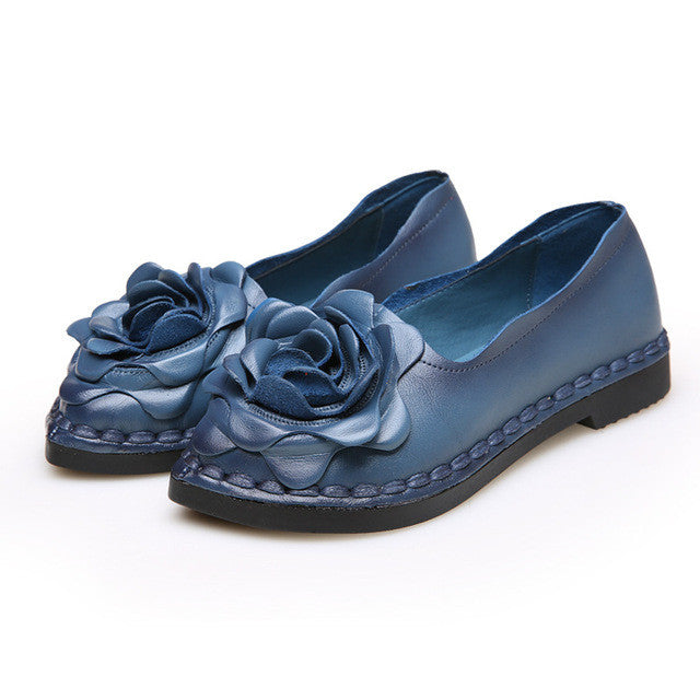 Vintage Handmade Folk Style Women Flats.  Casual Shoes, Genuine Leather,  Lady's Soft Bottom Shoes