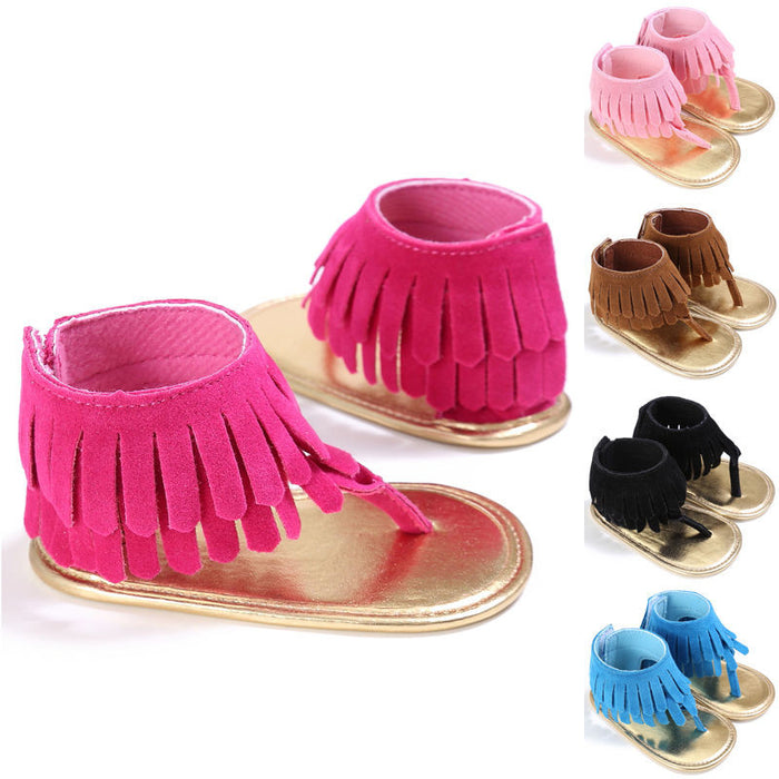 Summer Newborn Infant Baby Kids Pram Crib Fringe moccasins Shoes Tassel Sandals