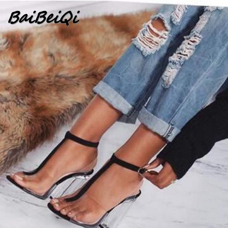 Women gladiator sandals ladies pumps high heels shoes woman Clear Transparent T-strap party wedding dress thick shoes