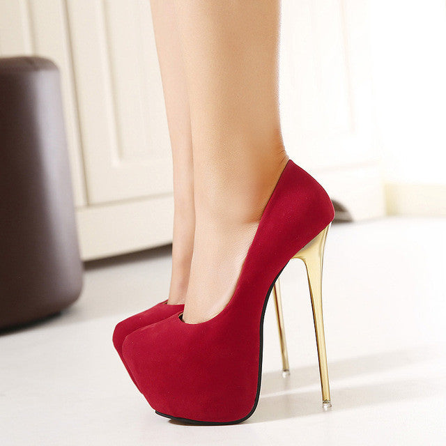 HOT  New Sexy Women Pumps 16CM  Round Toe High Heels Women Shoes Simple Fine Heels Women's Singles Shoes Size 34-40