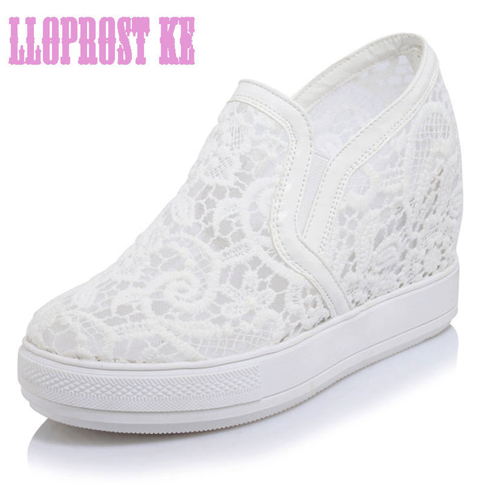 Elegant Loafers Shoes Women Casual Lace Round toe Shoes Woman Fashion Sweet Platform