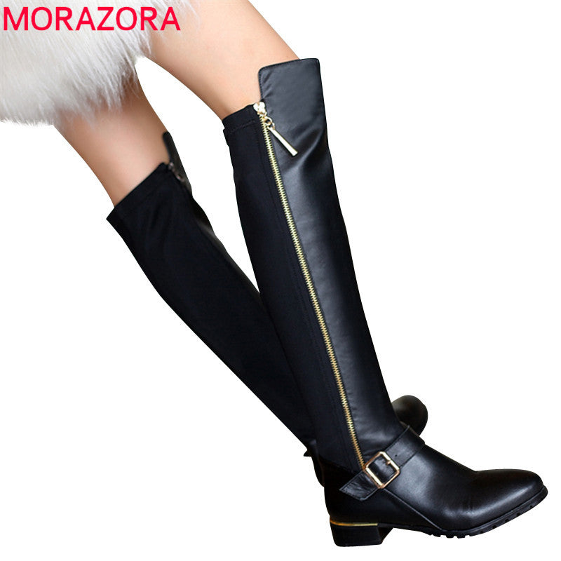 Genuine leather boots, buckle zipper, square heel, autumn, knee high boots