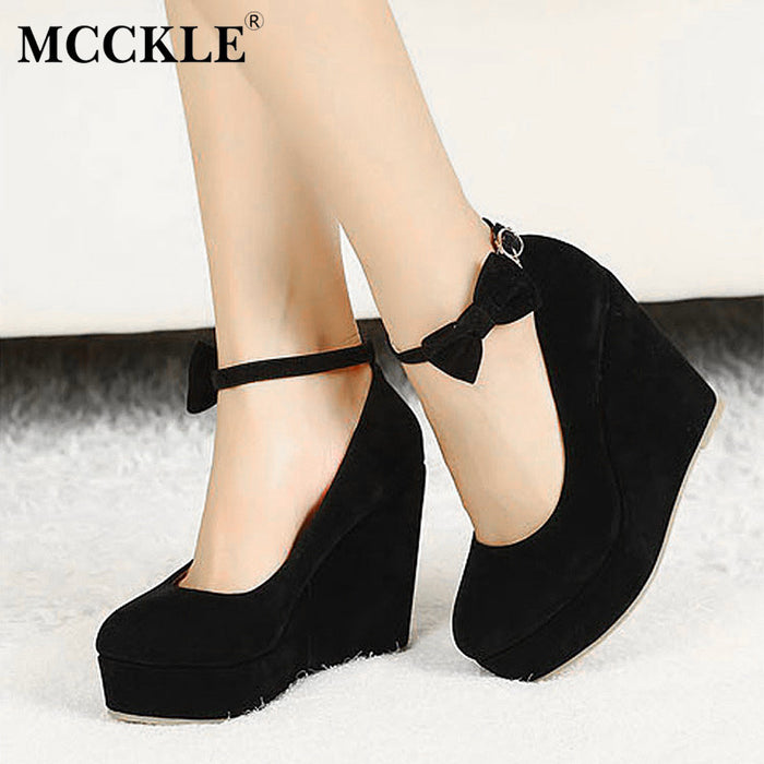 Women Fashion Buckle Ladies Shoes /Wedges,  High Heels Platform black casual bow-tie Pumps t