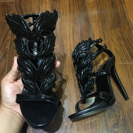 Black Pink Metallic Winged Gladiator Women Sandals 2017 High Heels Brand Sandals Summer Shoes Woman Sandalias Ladies Shoes Pumps