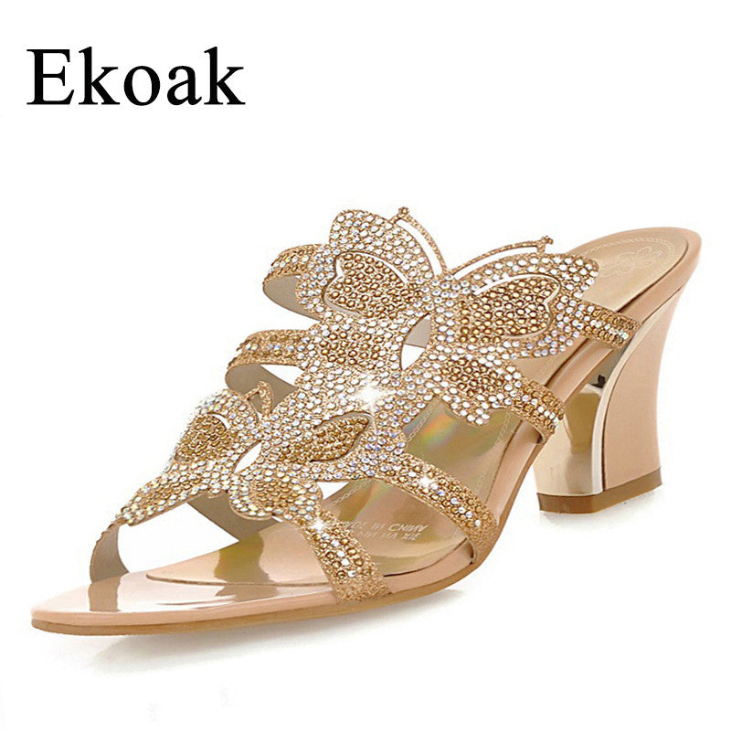 Women's sandals fashion rhinestone cutout ladies summer shoes woman with butterfly women high heel sandals