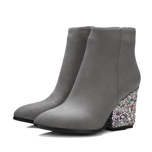 Autumn Shoes.   Women Fashion Boots /Ladies Thick High Heel Ankle Boots/ Party Rhinestone Shoes