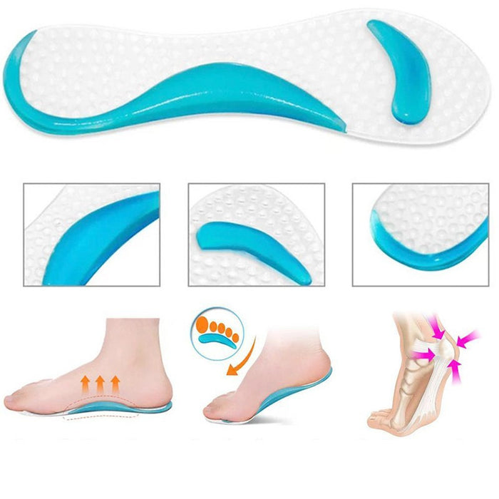 1Pair Soft Gel Insole 3/4 Lady Shoe Pad With Non-Slip Arch Support And Cushion Orthotics Foot Care Tool Massager Washable C591