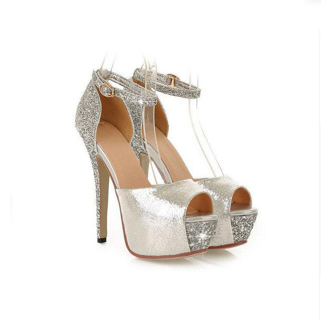 Glittering Sizes 6 - 12 Sexy High Heels Platform Shoes Pumps Women's Dress Fashion Wedding Shoes