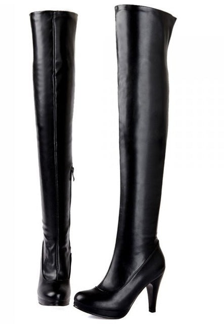 size 32-48 women high heel over knee boots ladies riding fashion long snow boot warm winter botas heels footwear shoes P14733