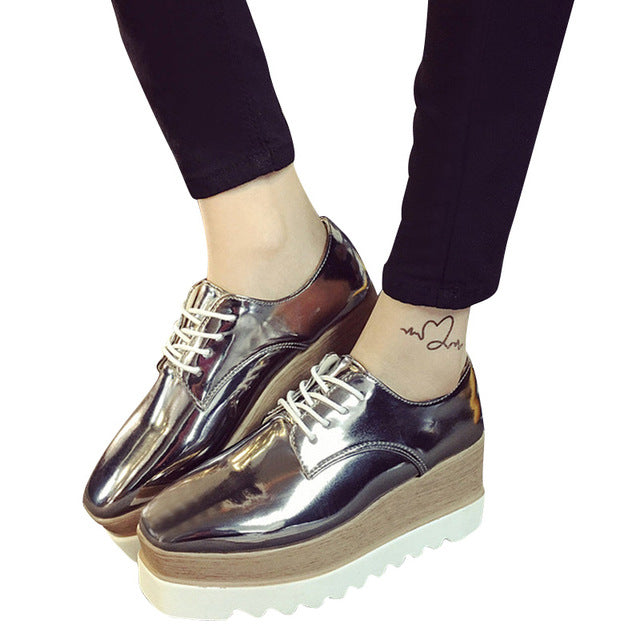 Creepers Platform Casual Shoes Woman Lace-Up Oxfords Spring Flats Fashion Solid Women Shoes