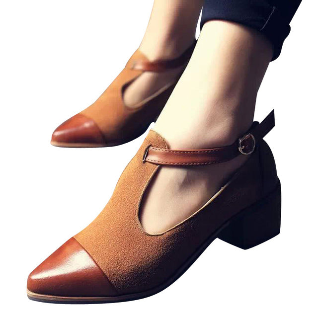 Pointed Toe Pumps. British Style Med Heels Patchwork T-Strap Oxfords Shoes Woman Casual Vintage Pump Shoes