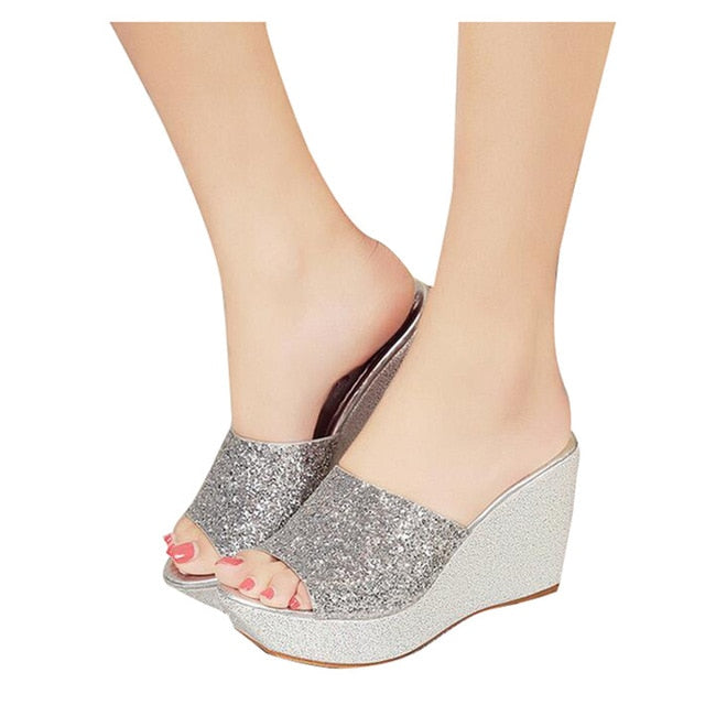 Women Slippers. Bling Glitter Platform Wedge Slides.  Thick Bottom. Casual Women Shoes