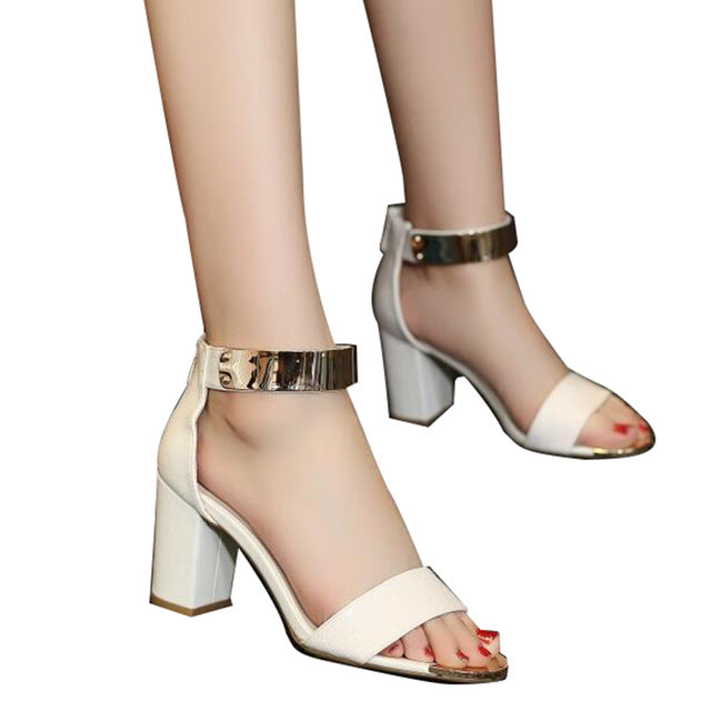 Gold Patchwork Women Sandals, Snake Skin PU. Ankle strap