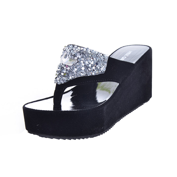 Women Sandals Flat With Rhinestones /Flip Flops /Thick Bottom Platform Summer Beach Shoes.  Sizes 5 - 8.5