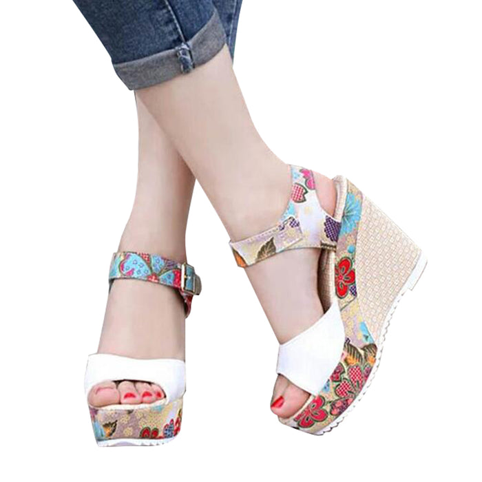 Floral Print Wedges.  Heel Sandals.  Summer Shoes.  Woman Buckle Strap,  Platform Sandals