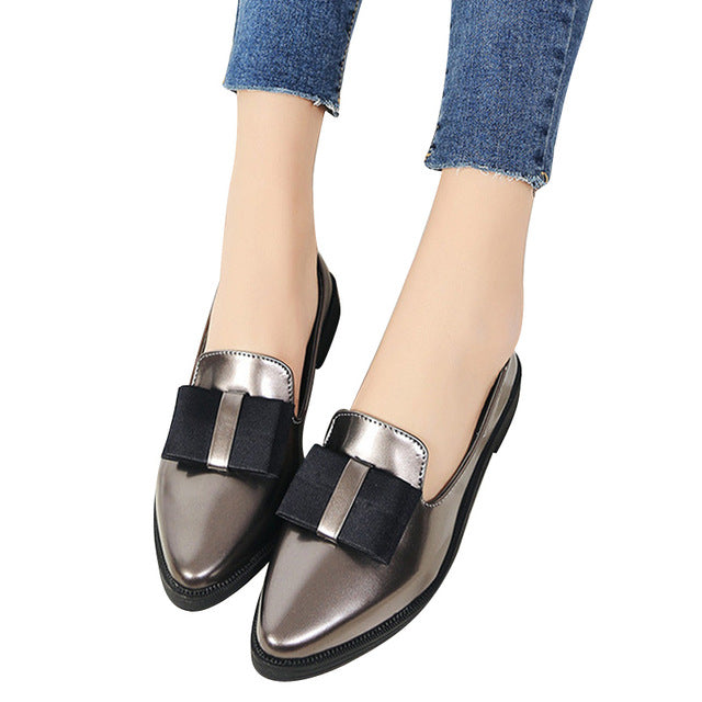Oxfords Bow-tie.  Woman Casual Loafers Pointed Toe. Flats