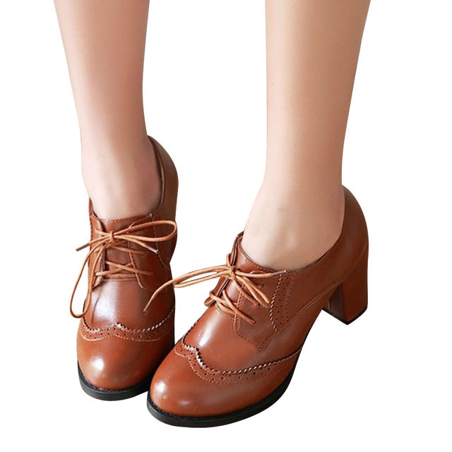 Leather Women Oxfords.   Square High Heel.  Casual Lace-Up