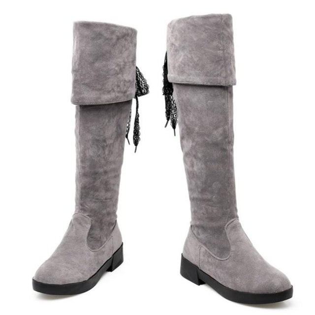 Women Boots. Winter Ladies Fashion Flat Boots. Shoes Over The Knee Thigh High Suede Long Boots Brand Designer Size 34-43