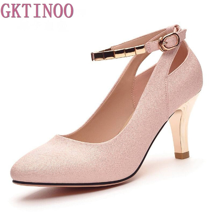 Women Pumps Fashion Sexy High Heels Shoes Women Pointed Toe Thin Heel Ladies Wedding Shoes Pink Silver