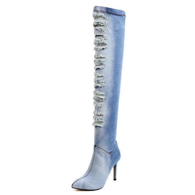 Sexy Ladies High Heel Boots Women Zipper Boots